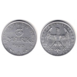 (29) Imperio Alemán (Weimar). 1922(A). 3 Mark (SC-)