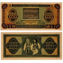 (12) Croacia. 1943. 1000 Kuna (EBC+)