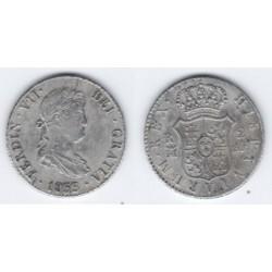 Fernando VII. 1833. 2 Reales (MBC) (Plata) Ceca de Madrid AJ