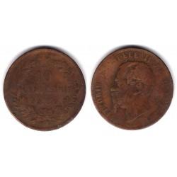 (11.5) Italia. 1867(OM). 10 Centesimi (BC-)