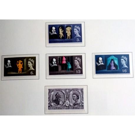 (402 a 406) Gran Bretaña. 1964. Serie Completa. Festival Shakespeare (Nuevo)