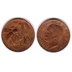 (60) Italia. 1921(R). 10 Centesimi (MBC)