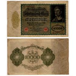 (72) Imperio Alemán (Weimar). 1922. 10000 Mark (MBC-) Pequeñas roturas margenes