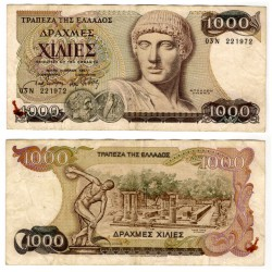(202) Grecia. 1987. 1000 Drachma (MBC-) Mancha oxido grapa