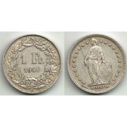 (24) Suiza. 1940(B). 1 Franc (MBC+) (Plata)