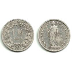 (24) Suiza. 1914(B). 1 Franc (MBC-) (Plata)
