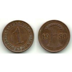 (37) Imperio Alemán (Weimar). 1930(A). 1 Pfennig (MBC)