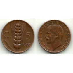 (59) Italia. 1933(R). 5 Centesimi (BC+)
