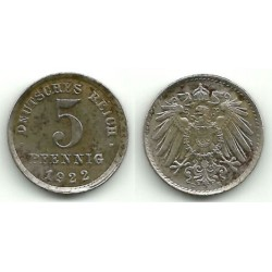 (19) Imperio Alemán. 1922(E). 5 Pfennig (MBC)