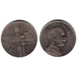 (63) Italia. 1924(R). 2 Lira (MBC)