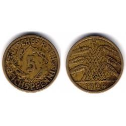 (39) Imperio Alemán (Weimar). 1924(A). 5 Pfennig (BC)