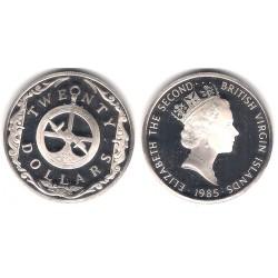 (62) Islas Vigenes. 1985. 20 Dollars (Proof) (Plata)