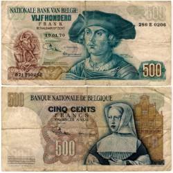 (135 Bélgica. 1970. 500 Francs (RC+) Roturas
