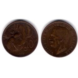 (60) Italia. 1925(R). 10 Centesimi (MBC)