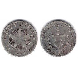 (13.2) Cuba. 1920. 20 Centavos (MBC-) (Plata)
