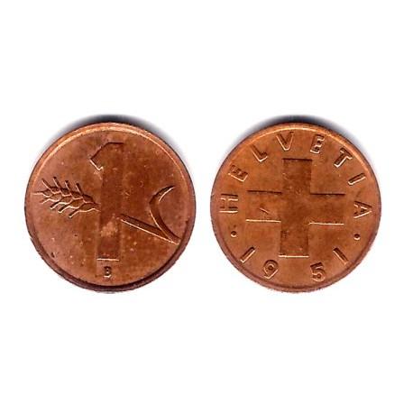 (46) Suiza. 1951(B). 1 Rappen (BC+)