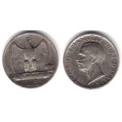 (67.1) Italia. 1927(R). 5 Lira (MBC) (Plata)