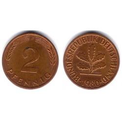 (106a) Alemania. 1980(F). 2 Pfennig (BC+)
