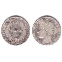 (822.1) Francia. 1887(A). 1 Franc (BC) (Plata)