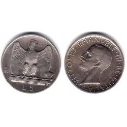 (67.9) Italia. 1927(R). 5 Lira (MBC) (Plata)