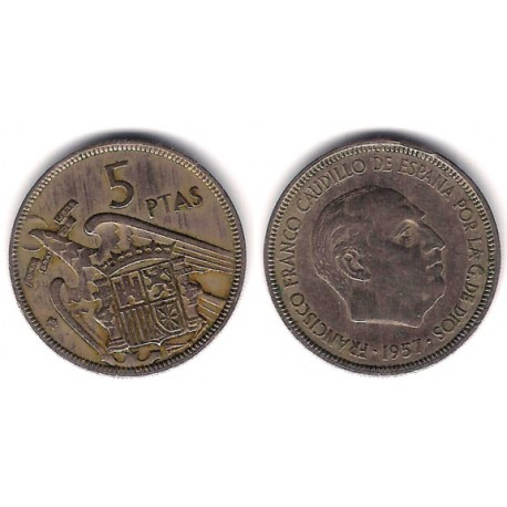 Estado Español. 1957*(65). 5 Pesetas (BC+)