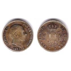 Alfonso XII. 1885. 10 Centavos de Peso (BC) (Plata) Ceca de Manila