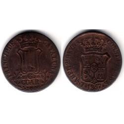 Isabel II. 1837. 6 Cuartos (BC-) Ceca de Cataluña