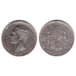 Alfonso XII. 1877*(18-7-). 5 Pesetas (BC) (Plata) Ceca de Madrid DE-M