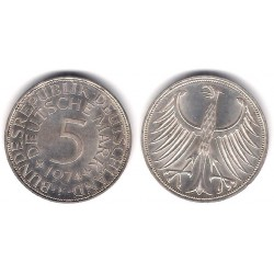 (112.1) Alemania. 1974(F). 5 Mark (MBC) (Plata)