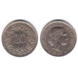 (29a) Suiza. 1957. 20 Rappen (MBC)
