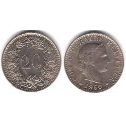 (29a) Suiza. 1960. 20 Rappen (MBC+)