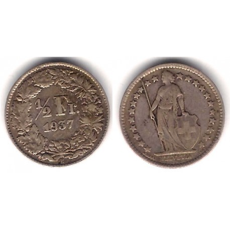 (23) Suiza. 1937. ½ Franc (MBC-) (Plata)