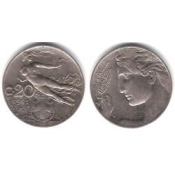 (44) Italia. 1921(R). 20 Centesimi (MBC+)