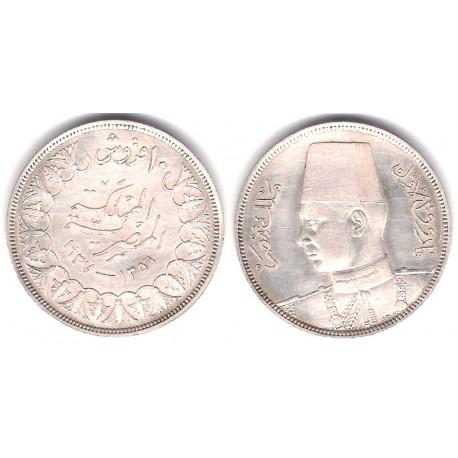 (367) Egipto. 1937. 10 Piastres (MBC+) (Plata)