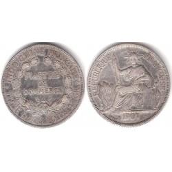 (5a.1) Indochina Francesa. 1907(A). 1 Piastre (MBC) (Plata)