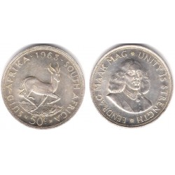(62) Sudáfrica. 1963. 50 Cents (EBC) (Plata)