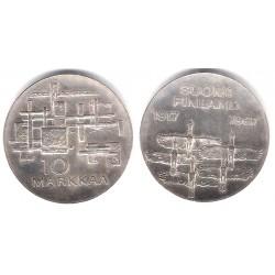 (50) Finlandia. 1967. 10 Markkaa (EBC+) (Plata)
