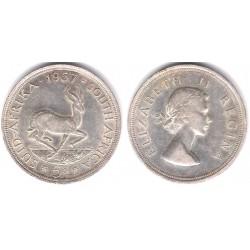 (52) Sudáfrica. 1957. 5 Shillings (EBC) (Plata)