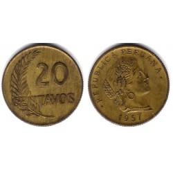 (221.2b) Perú. 1957. 20 Centavos (MBC)
