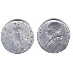 (52.1) Ciudad del Vaticano. 1952. 10 Lira (BC+)