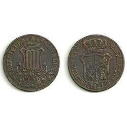 Isabel II. 1841. 6 Cuartos (MBC) Ceca de Cataluña