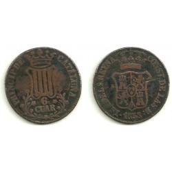 Isabel II. 1838. 6 Cuartos (BC) Ceca de Cataluña