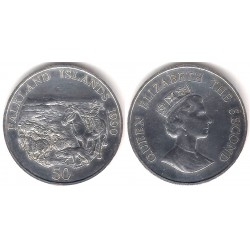 (26a) Islas Marlvinas. 1990. 50 Pence (EBC+) (Plata)