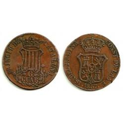 Isabel II. 1837. 6 Cuartos (MBC) Ceca de Cataluña