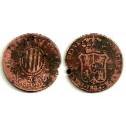 Isabel II. 1838. 3 Cuartos (RC) Ceca de Cataluña