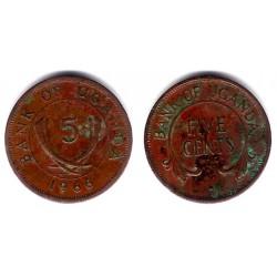 (1) Uganda. 1966. 5 Cents (MBC)