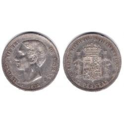 Alfonso XII. 1875*(18-7-). 5 Pesetas (MBC-) (Plata)