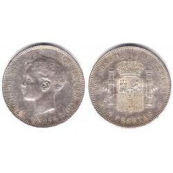 Alfonso XIII. 1899*(18-99). 5 Pesetas (EBC) (Plata)