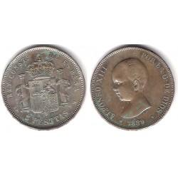 Alfonso XIII. 1889*(18-89). 5 Pesetas (EBC) (Plata)