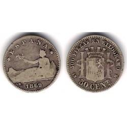 Gobierno Provisional. 1869*(---). 50 Céntimos (BC-) (Plata) Ceca de Madrid SN-M